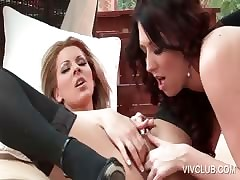 Slutty lesbo gets hot off with beaten