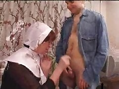 Twosome Boys Together with A Nun