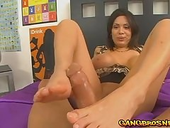 Sienna Sweet's precise footjob exceeding a obese blarney