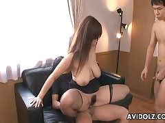 Asian slattern close to fishnets has a foursome lady-love