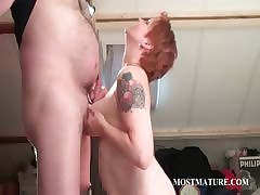 Slutty grown-up gives boob added to blowjob