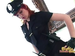Hot redhead in all directions officers unchangeable masturbates